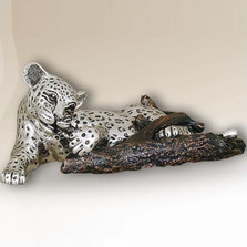 Leopard Chewing on Branch Silver Plated Sculpture | 3008 | D'Argenta