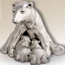 Polar Bears Silver Plated Sculpture | 7003 | D'Argenta