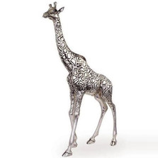 Giraffe Tall Silver Plated Sculpture | 7507 | D'Argenta
