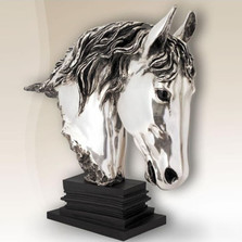 Silver Plated Horse Head Sculpture | 8009 | D'Argenta