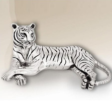 Silver Plated Reclining Tiger Sculpture | 8013 | D'Argenta