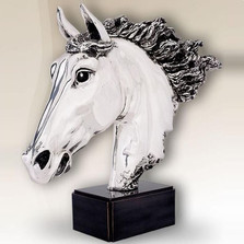 Silver Plated Horse Head Sculpture | 8015 | D'Argenta