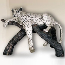 Large Silver Plated Leopard on Branch Sculpture | 8016 | D'Argenta