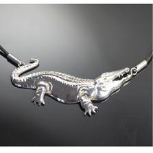 Alligator Sterling Silver Pendant Necklace | Anisa Stewart Jewelry | ASJw1015