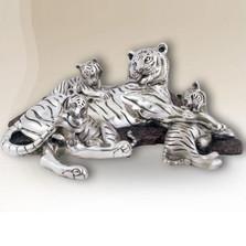 Tiger Mom-Cubs Silver Plated Sculpture | 8022 | D'Argenta