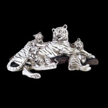 Silver Plated Tiger Mom-3 Cubs Sculpture | 8023 | D'Argenta