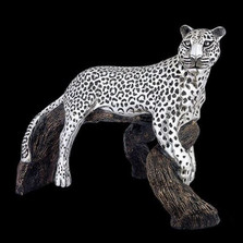 Leopard on Branch Silver Plated Sculpture | 8024 | D'Argenta