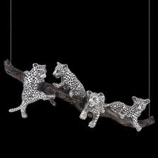 Jaguar Cubs Hanging on Branch Sculpture | 8025 | D'Argenta