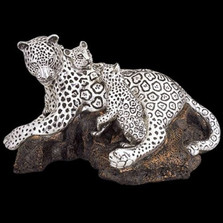 Leopard Mother-2 Cubs Silver Plated Sculpture | 8026 | D'Argenta