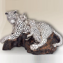 Leopard Family Silver Plated Sculpture | 8029 | D'Argenta