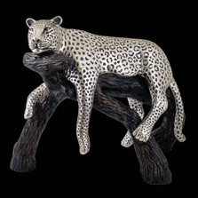 Leopard Lounging Silver Plated Sculpture | 8031 | D'Argenta
