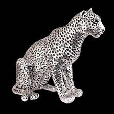 Leopard Sitting Silver Plated Sculpture | 8034 | D'Argenta