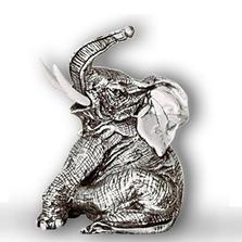 Silver Sitting Elephant Sculpture | A41 | D'Argenta