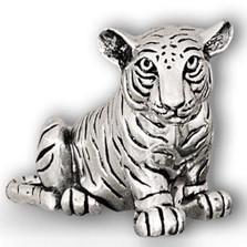 Silver Tiger Cub Sculpture Sitting | A50 | D'Argenta