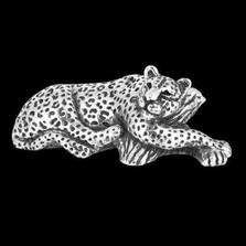 Silver Reclining Leopard Sculpture | A501 | D'Argenta