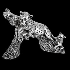 Silver Leopard and Cubs on Branch Sculpture | A504 | D'Argenta