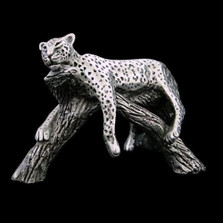 Silver Sculpture Leopard Resting on Branch | A506 | D'Argenta