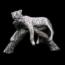 Silver Sculpture Leopard Resting on Branch | A506 | D'Argenta