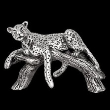 Silver Leopard Laying on Branch Sculpture | A508 | D'Argenta