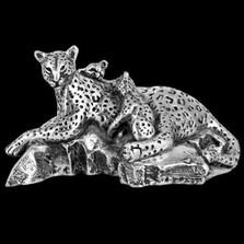 Silver Leopard and Cubs Sculpture | A509 | D'Argenta
