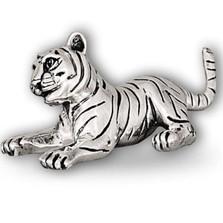 Silver Tiger Cub Sculpture Playing  | A51 | D'Argenta