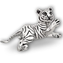 Silver Tiger Cub Sculpture Paw Up | A52 | D'Argenta