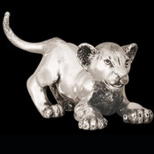 Silver Lion Cub Playing Sculpture | A58 | D'Argenta -2