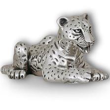 Silver Leopard Cub Laying Sculpture | A61 | D'Argenta