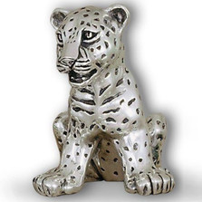 Silver Leopard Cub Sculpture Sitting | A62 | D'Argenta