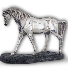 Silver Plated Arabian Horse Sculpture Head Down | A72 | D'Argenta