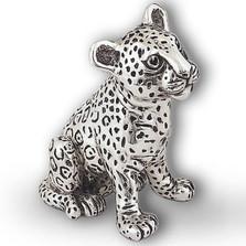 Silver Leopard Cub Small Sculpture | A74 | D'Argenta