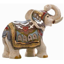 White Indian Elephant Ceramic Figurine | De Rosa | Rinconada | DER457