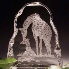 Giraffe and Baby Crystal Ice Block Sculpture | Evergreen Crystal | ECIgiraffeice