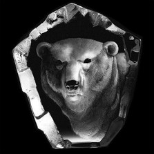 Polar Bear Head Crystal Sculpture | 33361 | Mats Jonasson Maleras