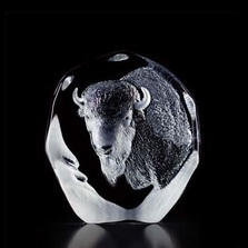 Buffalo Crystal Sculpture | 33535 | Mats Jonasson Maleras