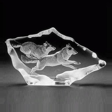 Wolf Pair Crystal Sculpture | 33599 | Mats Jonasson Maleras