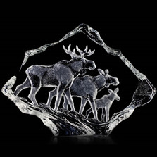 Moose Family Crystal Sculpture | 33636 | Mats Jonasson Maleras