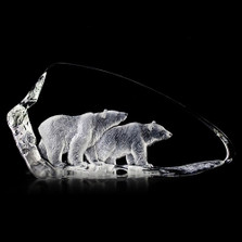 Polar Bears Crystal Sculpture | 33707 | Mats Jonasson Maleras