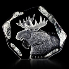 Moose Head Crystal Sculpture | 33750 | Mats Jonasson Maleras