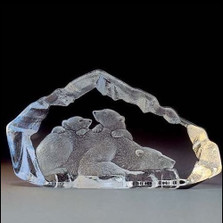 Polar Bear Family Crystal Sculpture | 33807 | Mats Jonasson Maleras