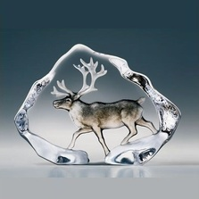 Reindeer Painted Crystal Sculpture | 33953 | Mats Jonasson Maleras