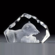 Polar Bear Cub Mini Crystal Sculpture | 88109 | Mats Jonasson Maleras