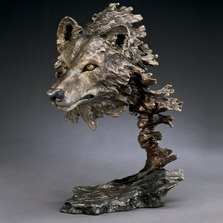 "Wolf Bronze Sculpture ""Wild Wind"" 