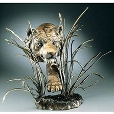 "Tiger Bronze Sculpture ""Shadow in the Grass"" 