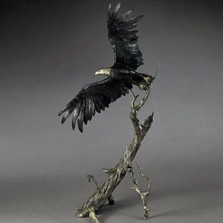 "Bronze Eagle Sculpture ""Into The Wind"" 