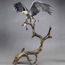 "Bronze Eagle Sculpture ""High Point"" 