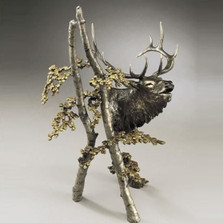 "Large Elk Bronze Sculpture ""The Call"" 
