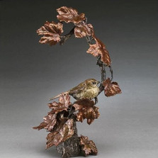 "Bird on Branch Bronze Sculpture ""Autumn's Return"" 