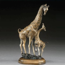 "Giraffe and Baby Bronze Sculpture ""Lookin' Up"" 