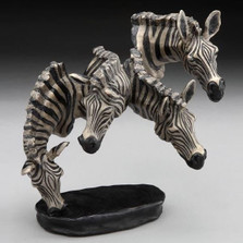 "Small Zebra Bronze Sculpture ""Watering Hole"" 
